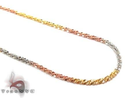 Three Tone Silver Glitter Chain 16 Inches, 1mm, 3.0 Grams Silver