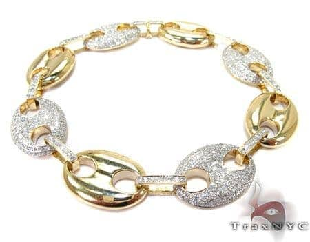 Mens Diamond Gucci Link Bracelet Mens Diamond Yellow Gold 10k Round