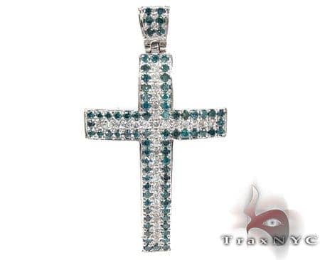 Blue and White Diamond Cross Diamond