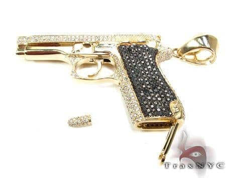 Gun with Bullet Yellow Gold Diamond Pendant Metal