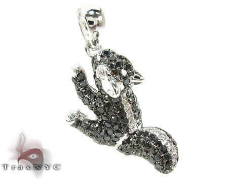 Squirrel Black and White Diamond Pendant Metal