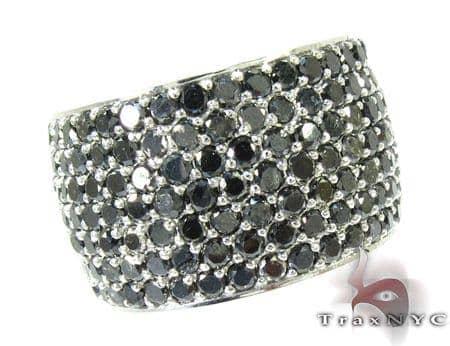 7 Row Fully Black Diamond Ring Stone