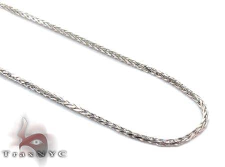 White Gold Thin Chain 18 Inches, 1mm, 2.2 Grams Gold