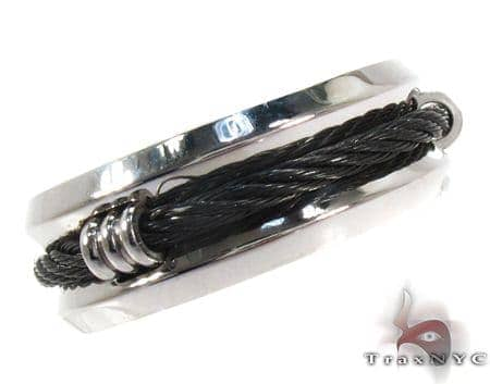 Mens Affordable Black Rope Stainless Steel Ring Metal