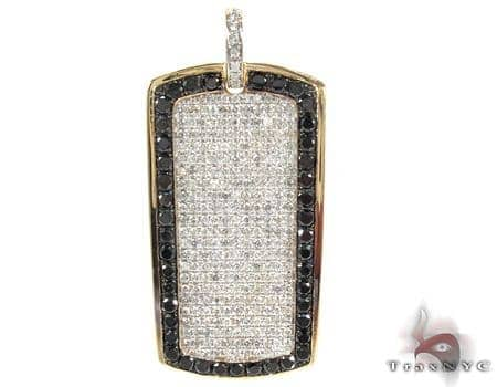 Black Outline Pave Diamond Dog Tag 2 Style