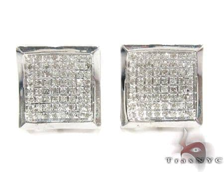 Curved Square Diamond Earrings 27122 Metal