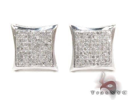 Curved Square Diamond Earrings 27126 Metal