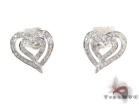 Heart in Heart Diamond Earrings Metal