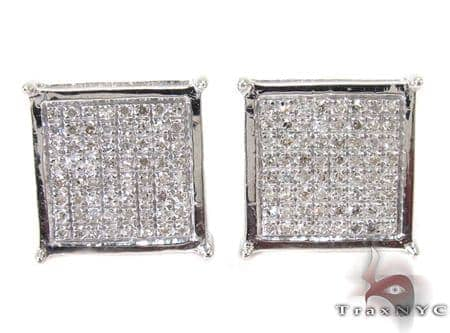 Silver 3D Square Earrings 27237 Metal