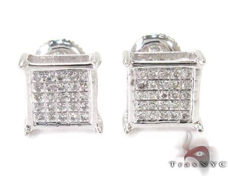 Silver Mini 3D Square Earrings 27239 Metal