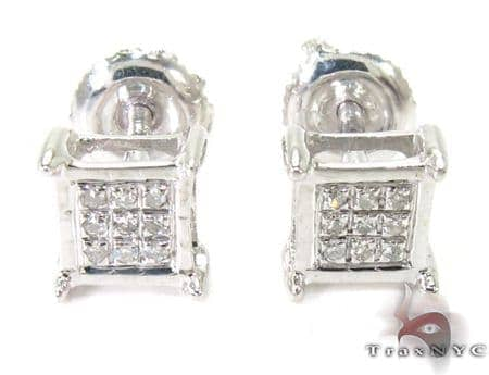 Silver Mini 3D Square Earrings 27240 Metal