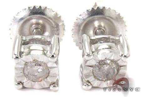 Bezel Diamond Silver Stud Earrings 27321 Metal