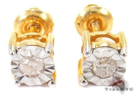 Bezel Diamond Silver Stud Earrings 27322 Metal