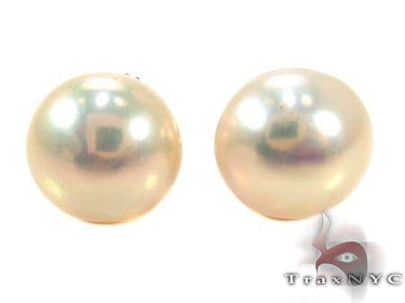 Gold Pearl Stud Earrings 27331 Stone