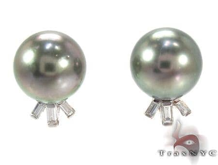 Black Pearl Diamond Earrings 27340 Stone