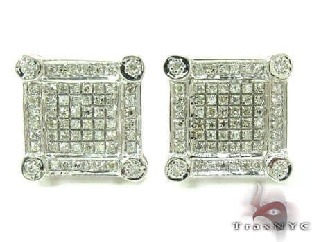 Bezel and Prong Diamond Earrings 27348 Metal