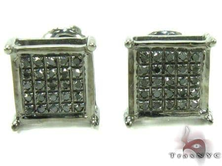 Black Diamond Square Silver Earrings 27624 Metal