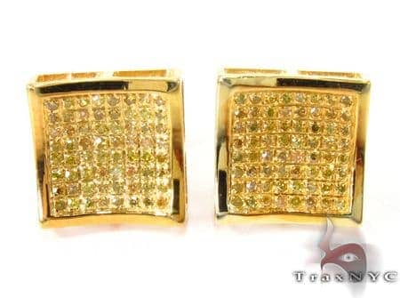 Curve Square Diamond Earrings 27635 Metal