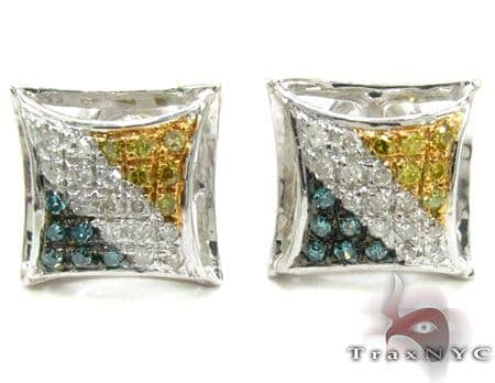 Multi-color Diamond Stud Silver Earrings 27645 Metal