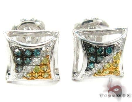 Multi-color Diamond Stud Silver Earrings 27648 Metal