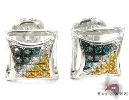 Multi-color Diamond Stud Silver Earrings 27648 Metal