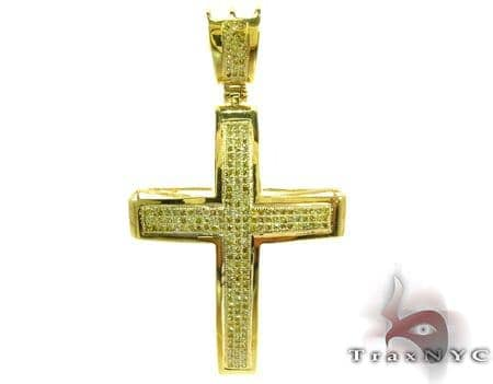 Canary Color Diamond Cross 27656 Silver