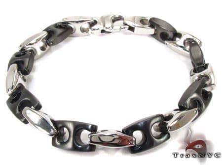 White and Black Stainless Steel Bracelet 27751 Stainless Steel