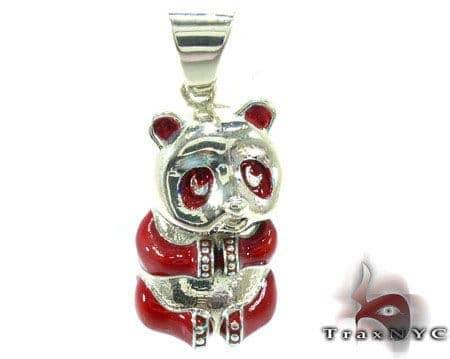 Red Enamel Panda Pendant Metal