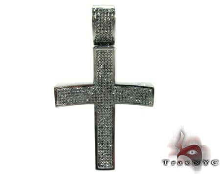 Black Curve Silver Diamond Cross Silver