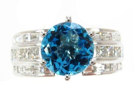 Custom Blue Topaz Ring Gemstone Diamond Rings