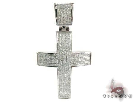 Prong Diamond Cross 28831 Silver