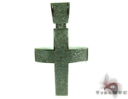 Prong Diamond Cross 28833 Silver