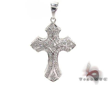 Silver Prong Diamond Cross 28843 Silver