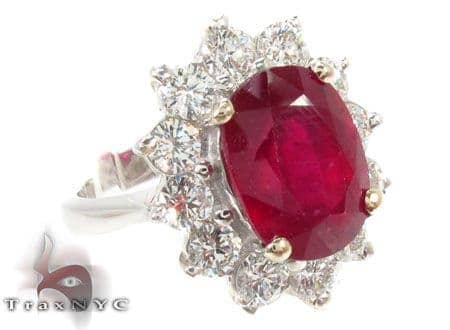 Pigeon Blood Ruby Diamond Ring Anniversary/Fashion