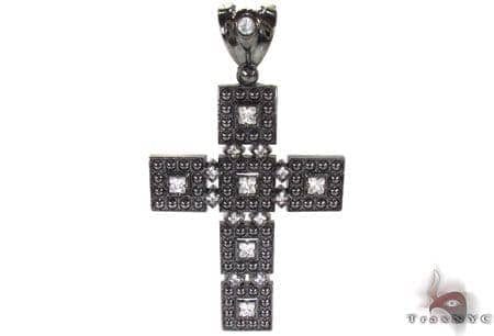 Black Rhodium Silver CZ Cross Silver