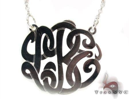 Silver Name Plate Monogram Necklace 30995 Silver