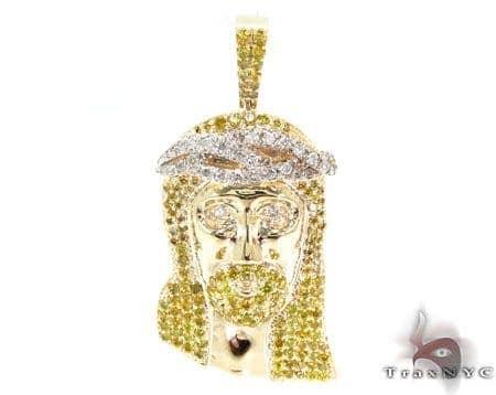 Jesus Canary Color Diamond Pendant Style