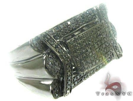 Concrete Black Diamond Ring Metal