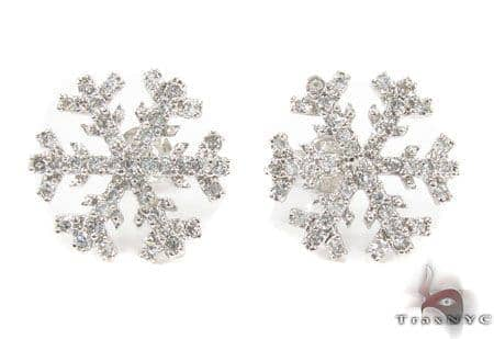 CZ Silver Snow Flake Earrings 31431 Metal
