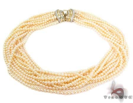 11 Strand Yellow Pearl Necklace Pearl