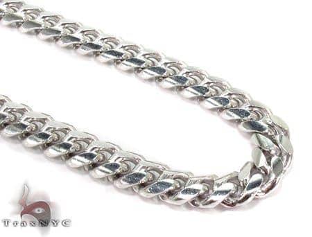 Miami White Silver Chain 36 Inches, 7mm, 102 Grams Silver