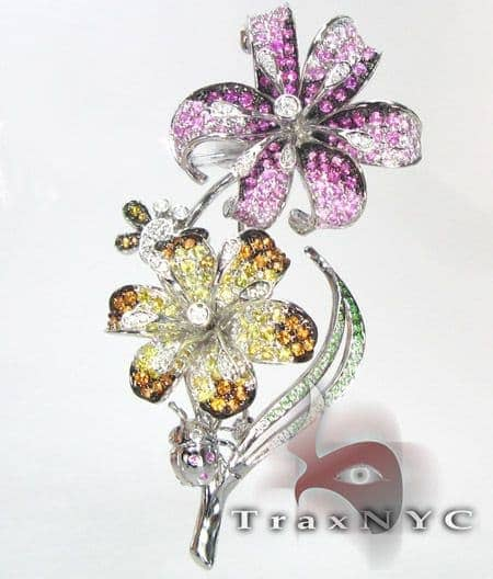 5 Petal Flower Brooch Stone