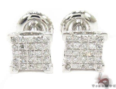 10K White Gold Prong Diamond Earrings 32058 Stone