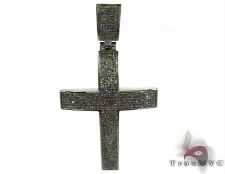 Prong Black Diamond Cross 32261 Silver