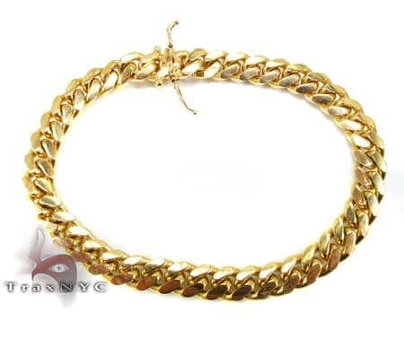 Miami Cuban Link Bracelet 7.5 Inches 7mm 30.4 Grams Gold