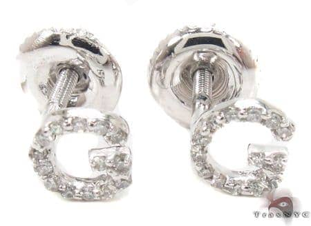Prong Diamond Initial 'G' Earrings 32635 Stone