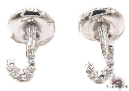 Prong Diamond Initial 'J' Earrings 32638 Stone