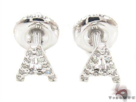 Prong Diamond Initial \'A\' Earrings 32639 Stone