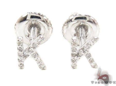 Prong Diamond Initial \'K\' Earrings 32645 Stone