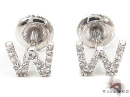 Prong Diamond Initial 'W' Earrings 32655 Stone